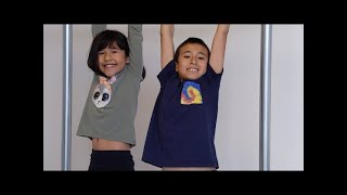Kids Playing on Home made Pull up Bar