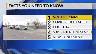 KRQE Newsfeed: Nob Hill crime, COVID relief latest, Cool day, Superintendent search, New condiment
