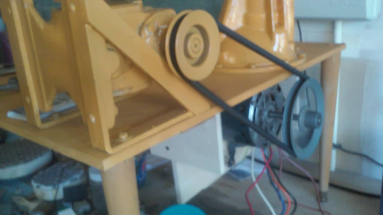 Trial run at slow speed  Need to get smaller motor pulley