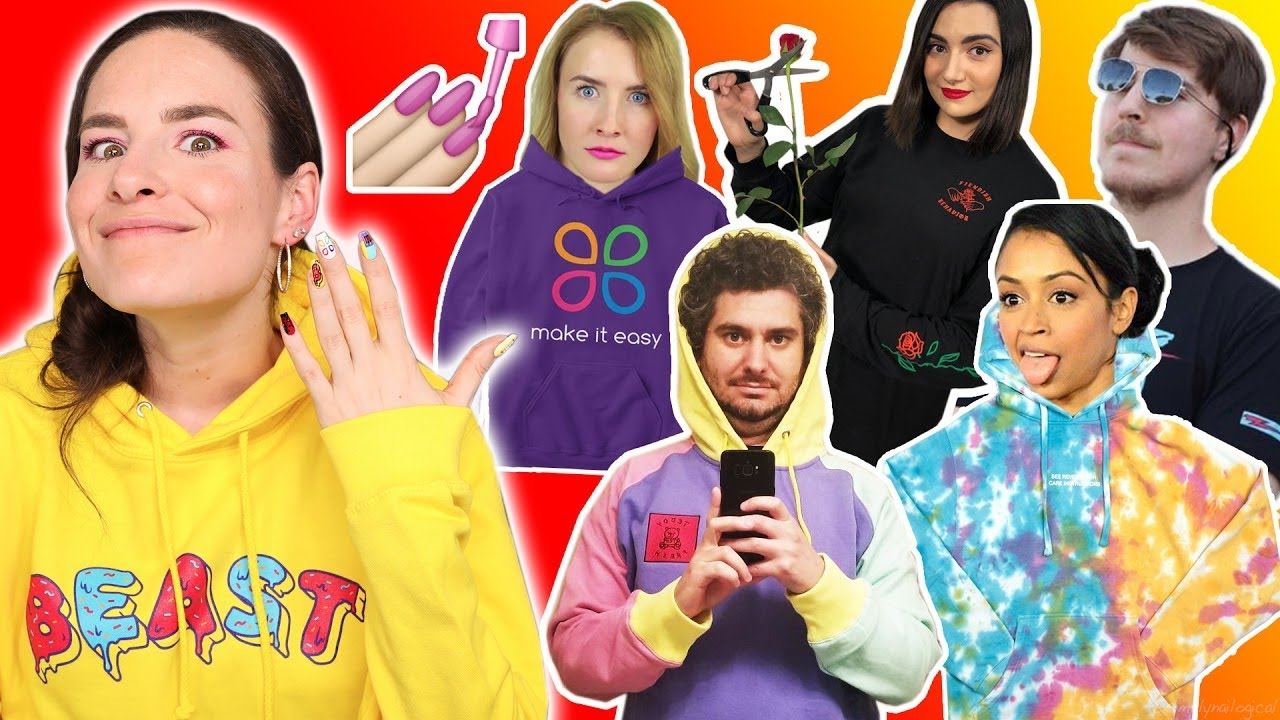 Recreating YouTuber Merch On My Nails