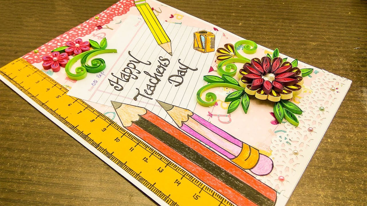 DIY  how to make teachers day card  tutorial  card making ideas   Quilling designs  Magic quill