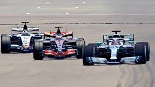 Mercedes F1 2019 vs McLaren F1 2005 vs McLaren F1 2007 - Spa