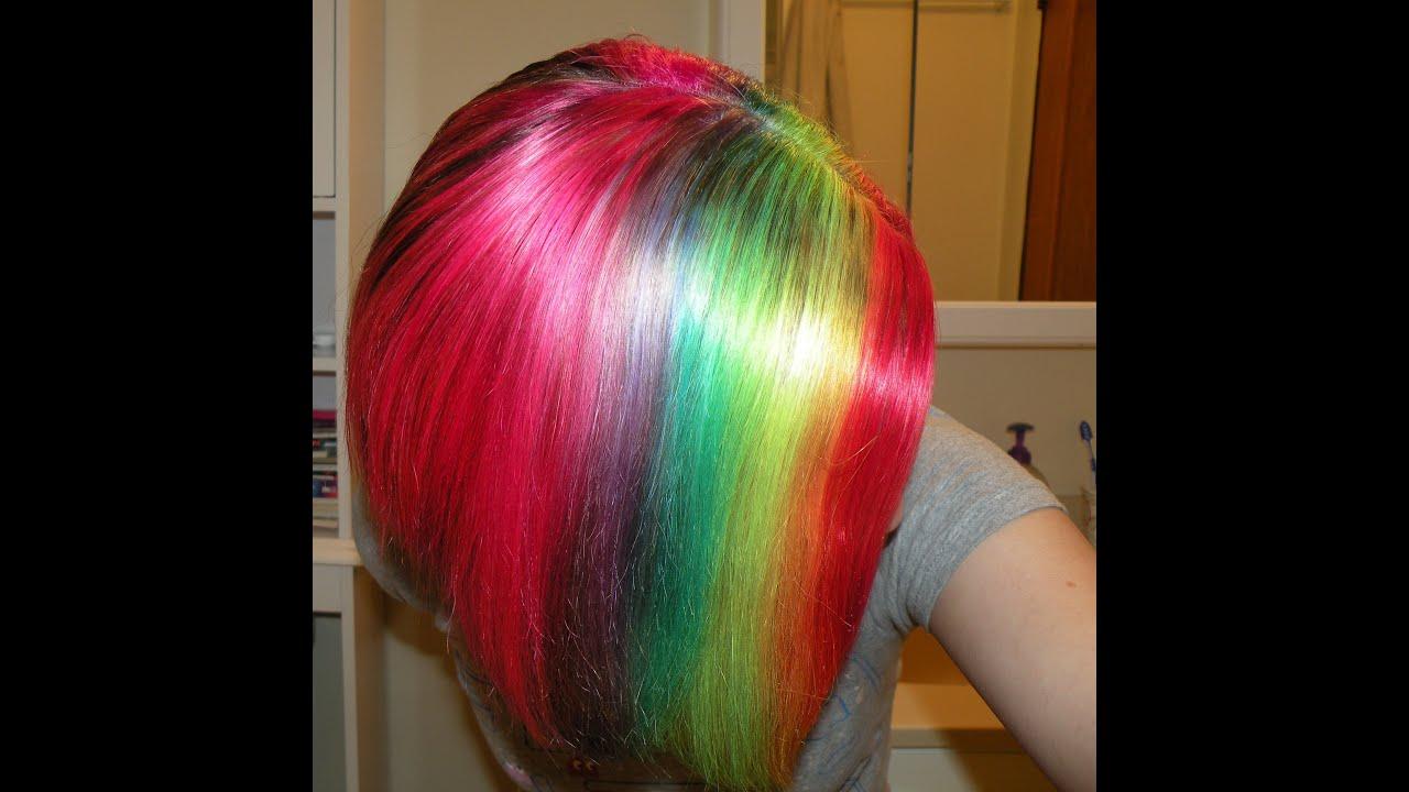 How I Dye My Hair Rainbow Youtube