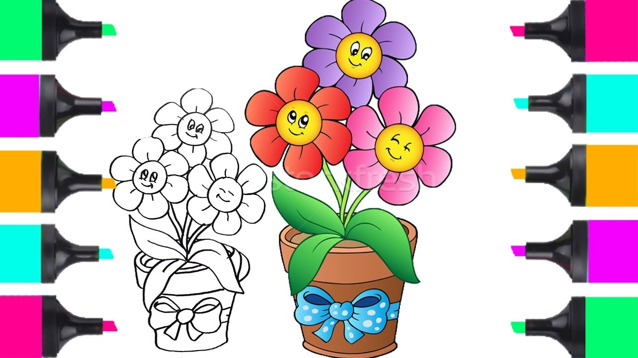 How To Draw Flowers In Vase Flower Bouquet Easy Coloring