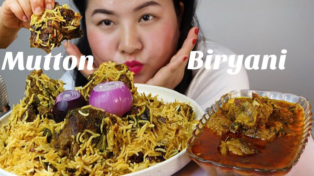 Spicy mutton biryani and mutton curry MUKBANG/ASMR eating