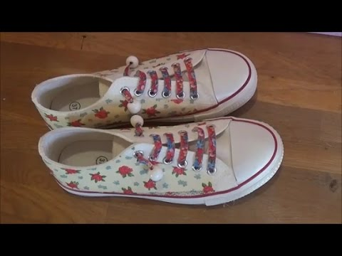 DIY fabric shoes decoupage/Ντεκουπάζ σε υφασμάτινα παπούτσια