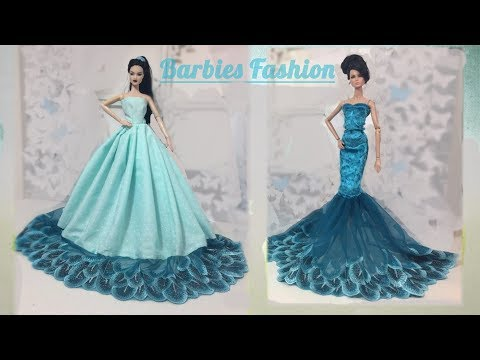 2 DIY BARBIE DRESSES/MAKE THE MOST BEAUTIFUL BARBIE DOLLS PARTY DRESSES