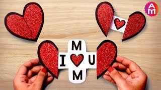 Mother's day special card | Beautiful handmade heart shape greeting cards idea |  Artsy Madhu 51