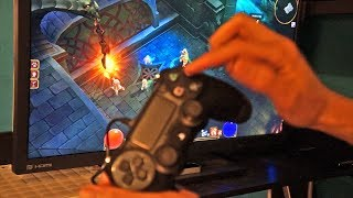 PS4 controller, touchpad and all, with Torchlight II