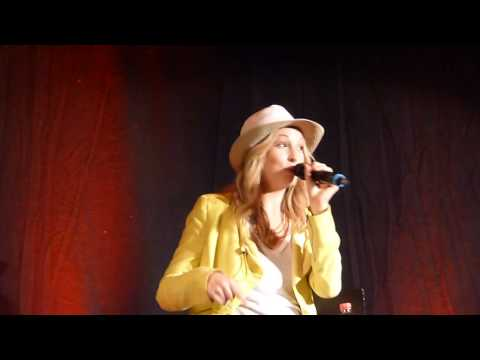 Candice Accola at BloodyNightCon Brussel tells a prank 'the banana story' with Michael Trevino