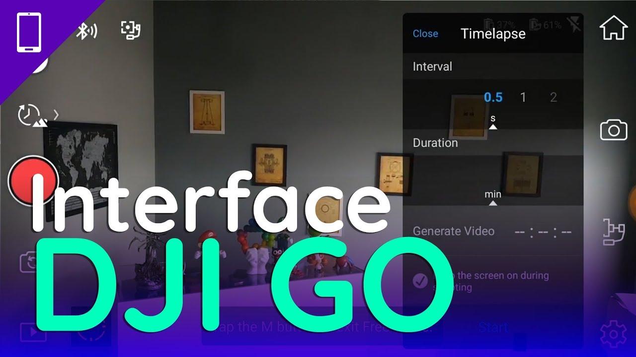Interface do DJI GO, aplicativo para o DJI Osmo Mobile 2