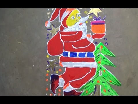 Christmas special Santa claus Rangoli Designs with 21x14 straight Dots,Kolam  of Christmas special
