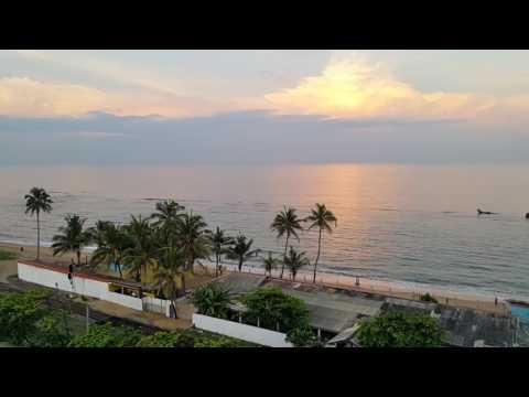 Colombo, Sri Lanka : Beautiful sunrise at dawn on the coast of Wellawatte from Global Towers Hotel
