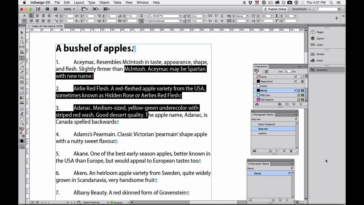 InDesign Numbered Lists Pt 2 Character styling