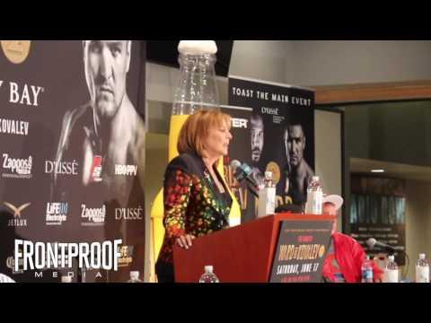 Kovalev's promoter, Kathy Duva, SCOLDS WARD SUPPORTERS at post-fight!! | Frontproof Media