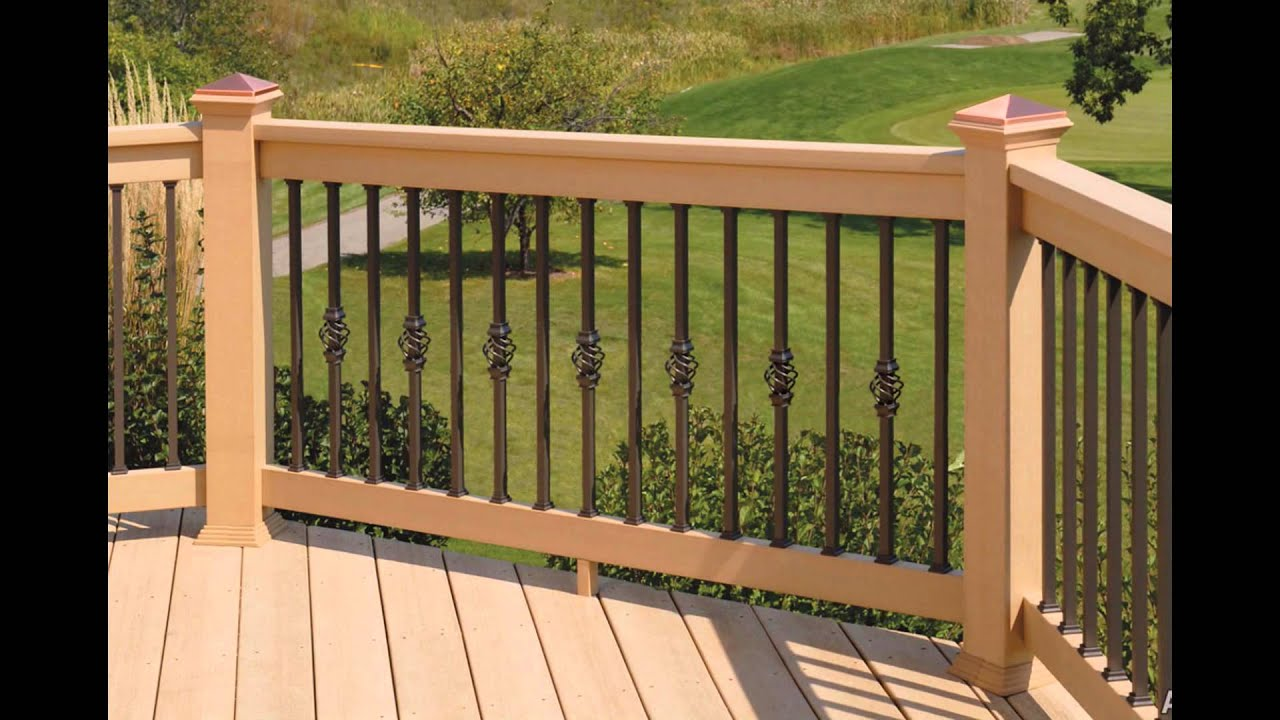 Wood Deck Railing Designs - YouTube