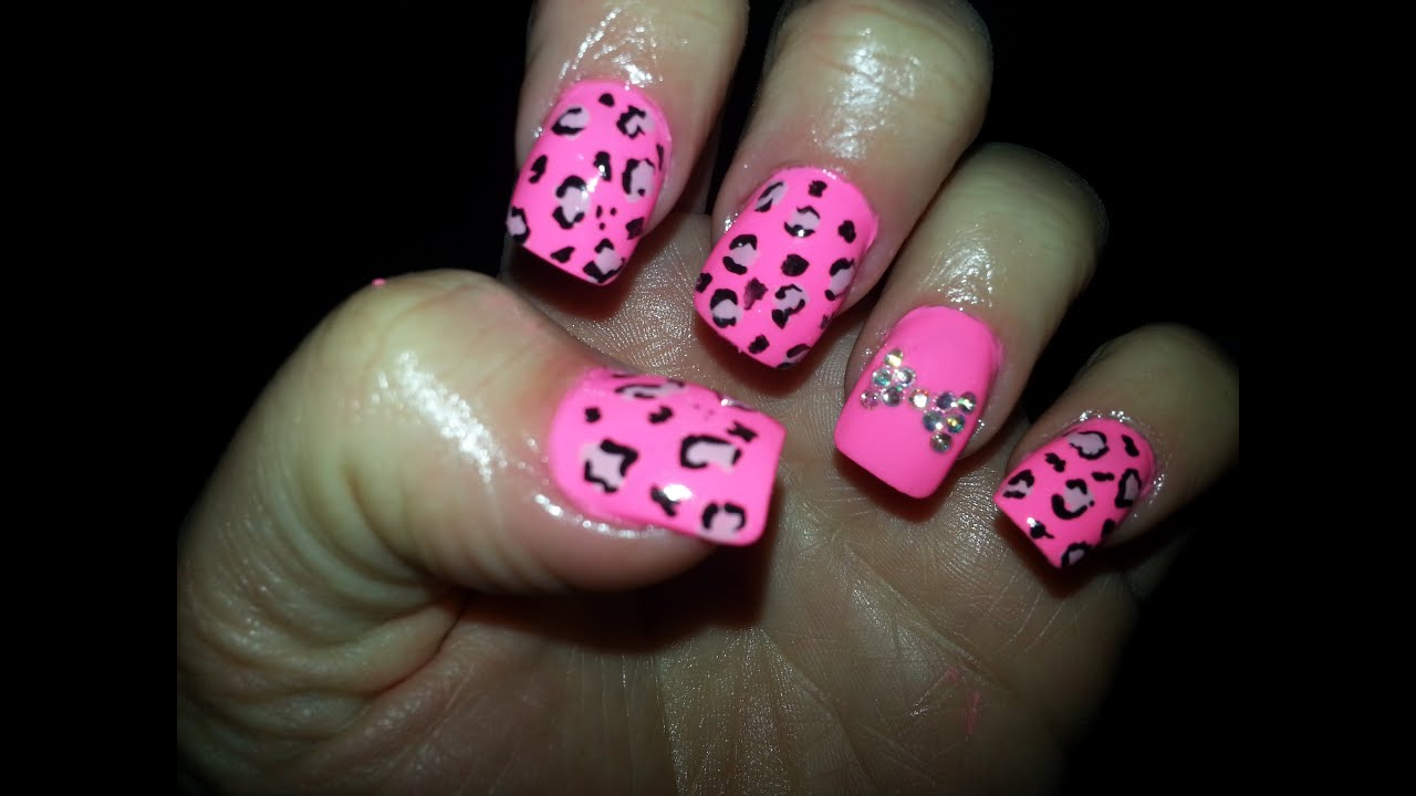 pink leopard print nail art with rhinestone bow - YouTube