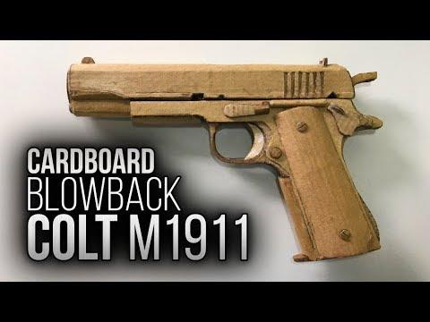 How to make CARDBOARD Colt M1911 with BLOWBACK - EASY / Como fazer pistola de papelão com blowback