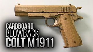 How to make CARDBOARD Colt M1911 with BLOWBACK - EASY / Como fazer pistola de papelão com blowback