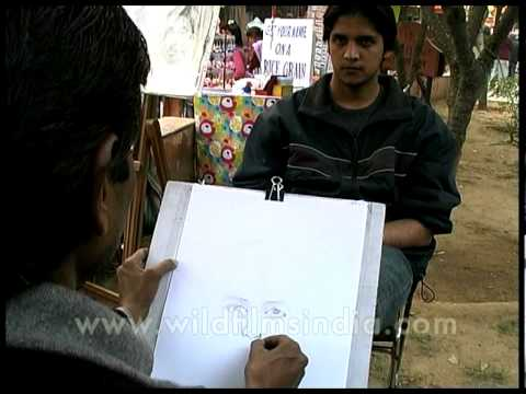 On the spot sketching at delhi haat