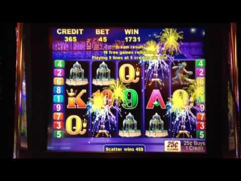 Vintage PARIS LIGHTS Slot Machine Bonus $11.25 Bet QUARTER DENOM, 2 Retriggers!