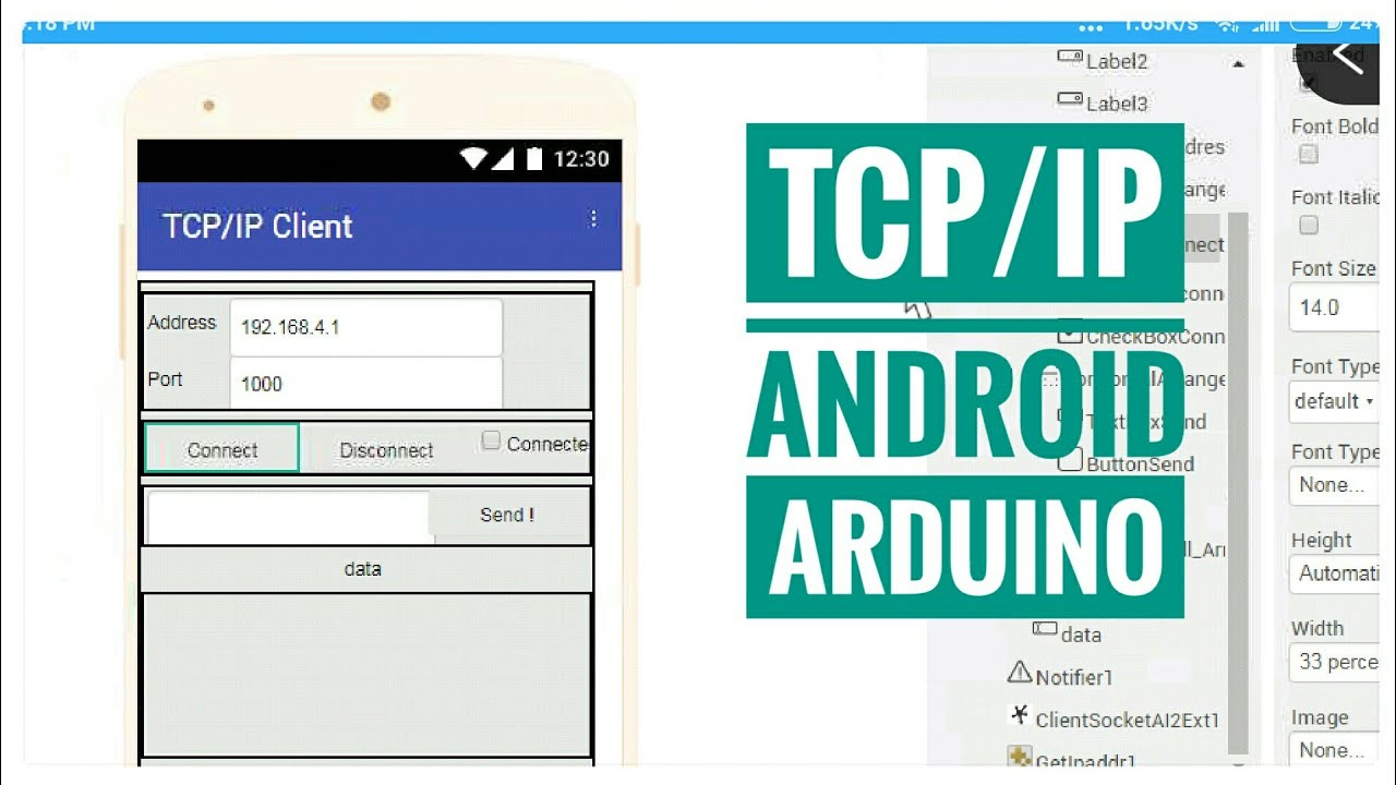 drag and drop app builder | TCP/IP Client Server Android - Arduino
