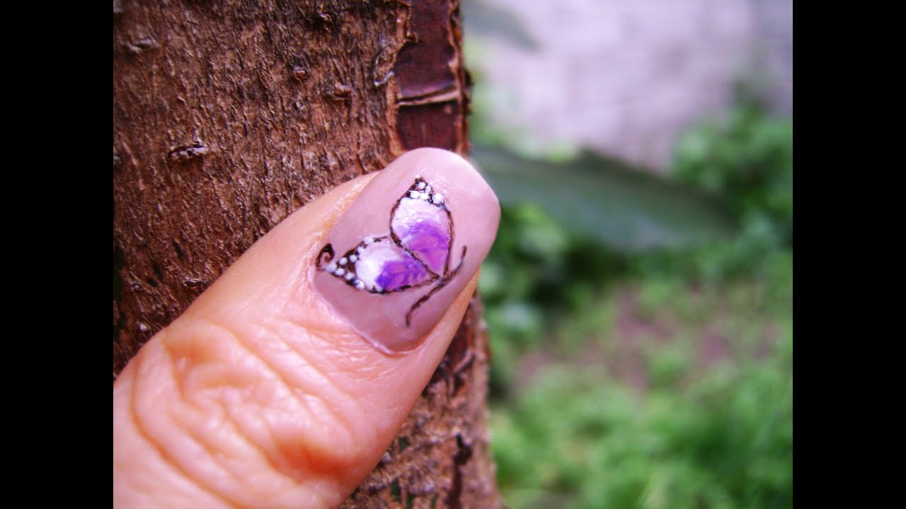 Uñas de Mariposas (muy facil) - Butterfly nails (easy design) - YouTube
