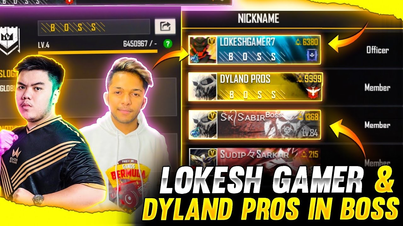LOKESH GAMER and DYLAND PROS in Boss !! 😳❤️ World Richest Players In Boss🔥😱