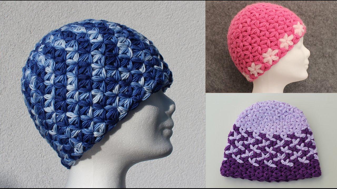 Triangle Star Stitch Basic Hat- Beanie - DIY Crochet Tutorial - Puffed Star  Stitch - All Sizes 63770af2815