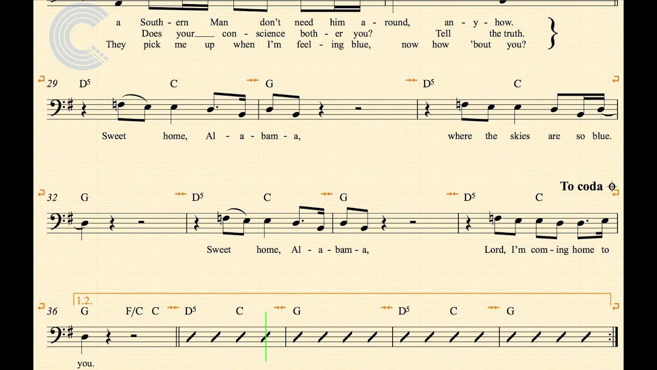 Cello Sweet Home Alabama Lynyrd Skynyrd Sheet Music Chords