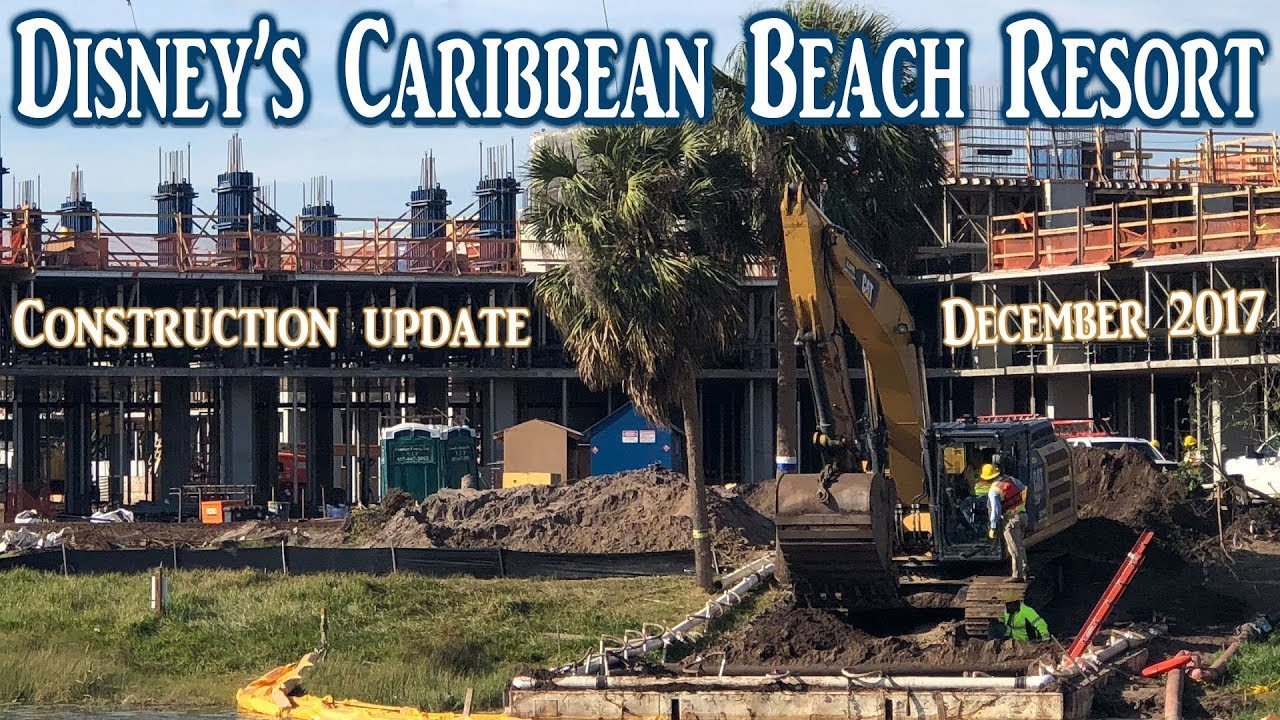 Disneys Caribbean Beach Resort Construction Update And Holiday Walk Through December 2017