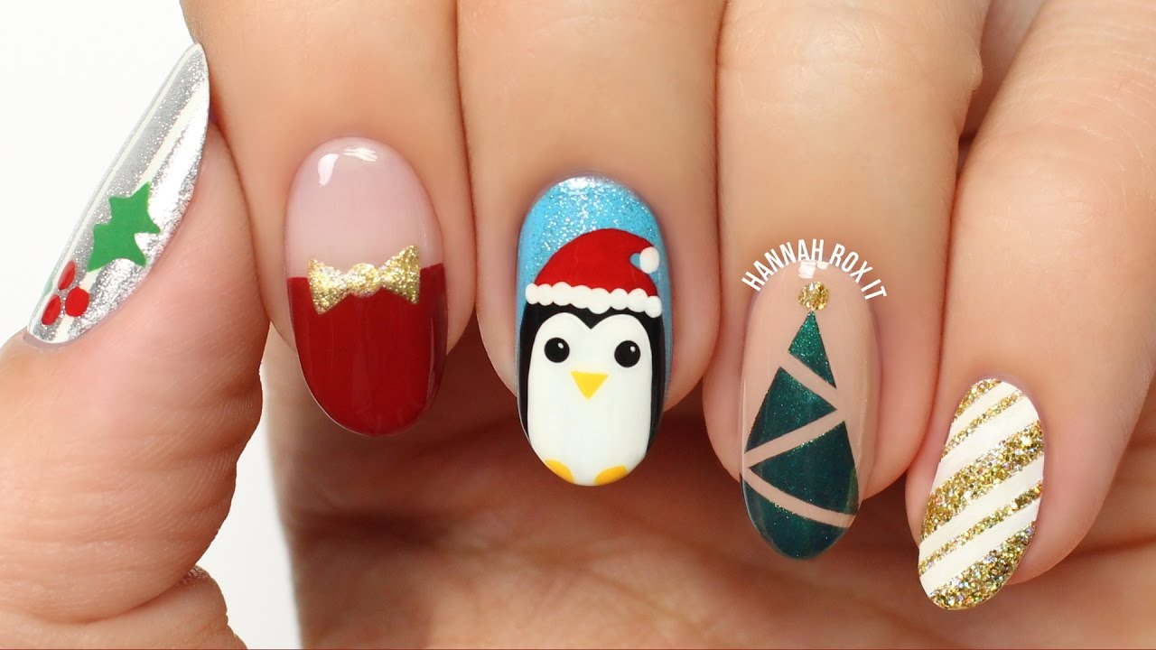 - 5 Fun Holiday/Christmas Nail Art Designs! - YouTube