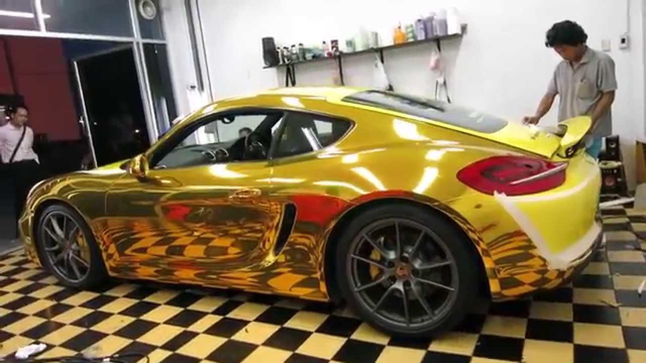 Chrome Car Wrap >> TEASER: GOLD CHROME PORSCHE CAYMAN www.tonywrap.com - YouTube