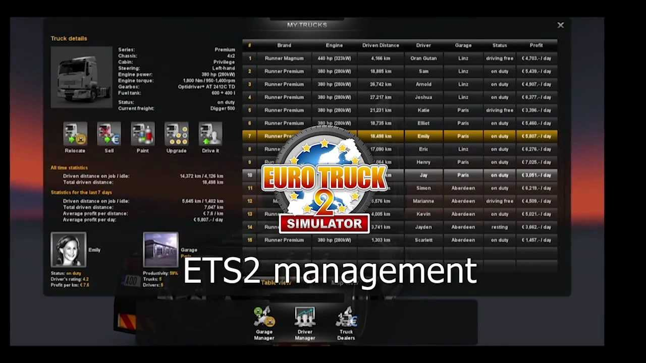 Euro Truck Simulator 2 Company Management Youtube