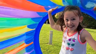 Öykü and her Dad are plays roll with it giant wheel