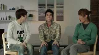 Three members of U-Kiss, Kevin, AJ and Eli challenge to make Korean...