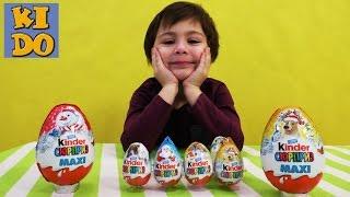 Киндер сюрприз яйца новогодние киндер макси распаковка игрушек unboxing kinder surprise toys