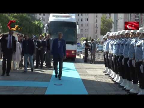 Cumhurbaşkanı Erdoğan, Gaziantep Valiliği'nde tören mangası ile karşılandı