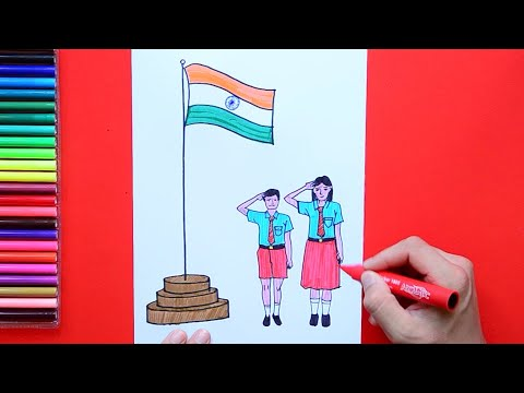 How to draw and color Independence Day - Kids saluting India Flag