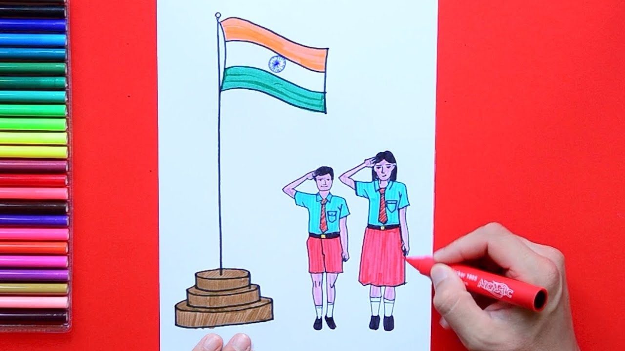 how to draw and color independence day kids saluting india flag