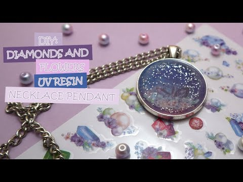 DIY: Diamonds and Flowers UV Resin Necklace Pendant