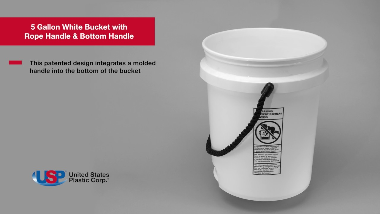 5 gallon white bucket with rope handle bottom handle u s plastic corporation youtube. Black Bedroom Furniture Sets. Home Design Ideas