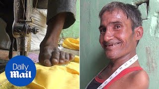 Courageous man born with no arms becomes professional tailor - Daily Mail