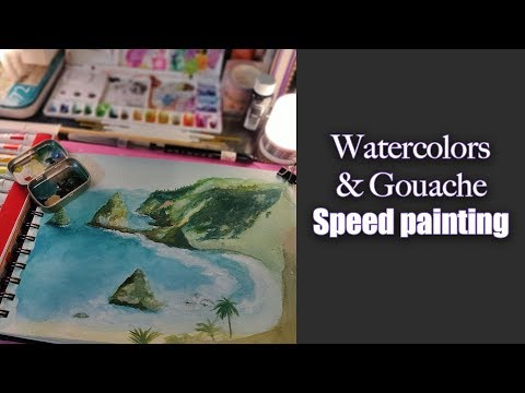 Hawaii Landscape Watercolor [speed painting]