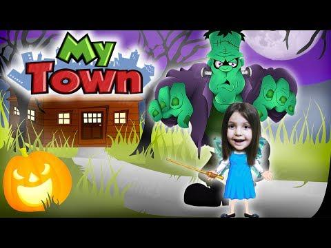 ДОМ С ПРИВИДЕНИЯМИ в MY TOWN симулятор семейки монстров Видео для детей KIDS CHILDREN
