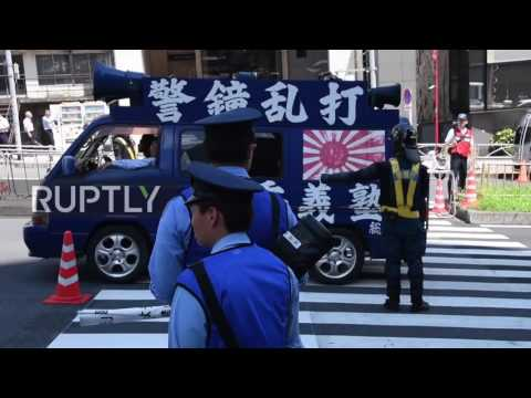 Japan: Nationalists rally against Russia's presence in outer Manchuria outside embassy