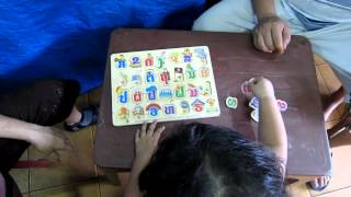 LinLin less than 2 years old know all about the alphabet Laos