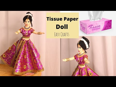 DIY Adorable Handmade Tissue Paper Barbie Doll Making Idea by Aloha Crafts ( NEW TECHNIC )