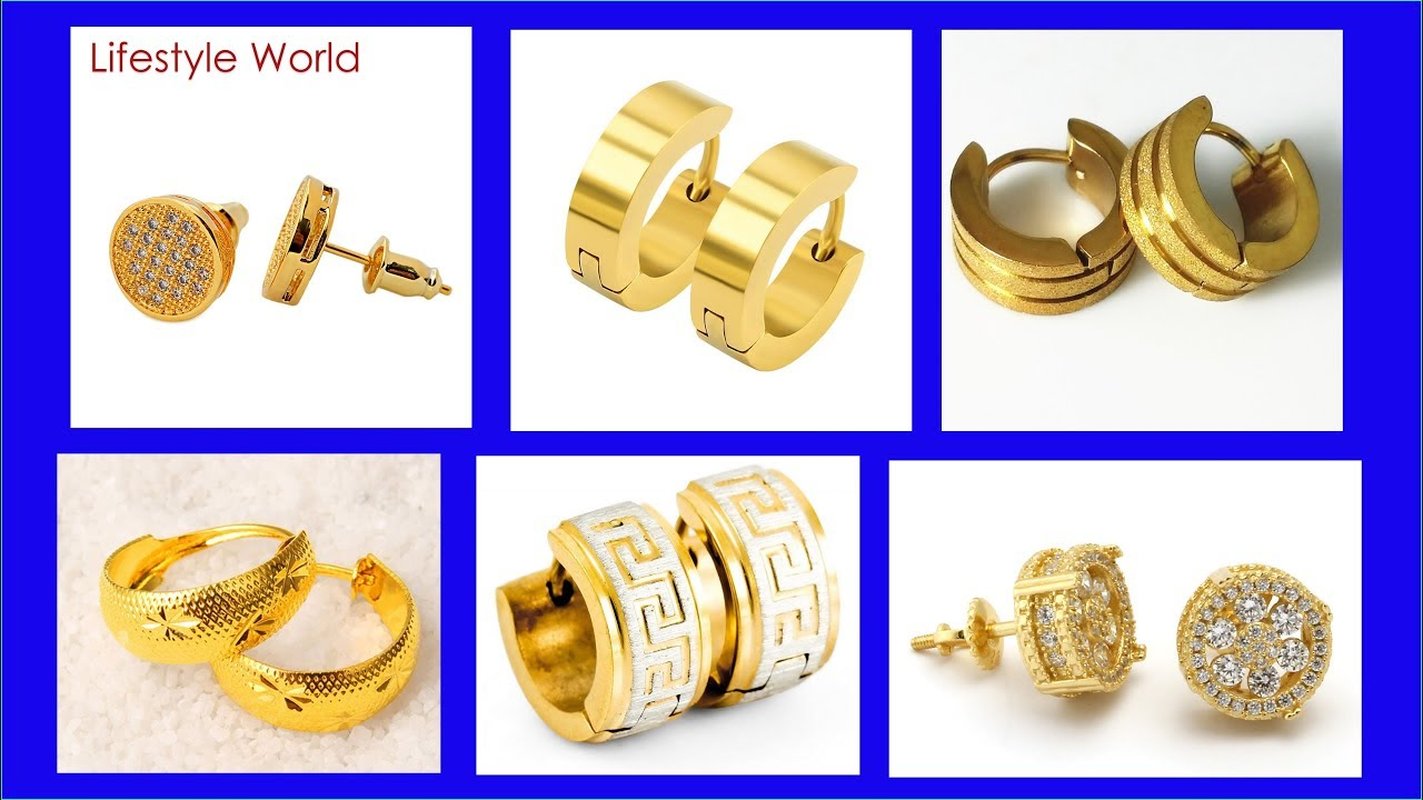 Top 35 Gold Men Earrings Design 2018 Latest Jewerly For Boys