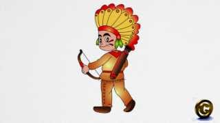 How to draw an American Indian step by step